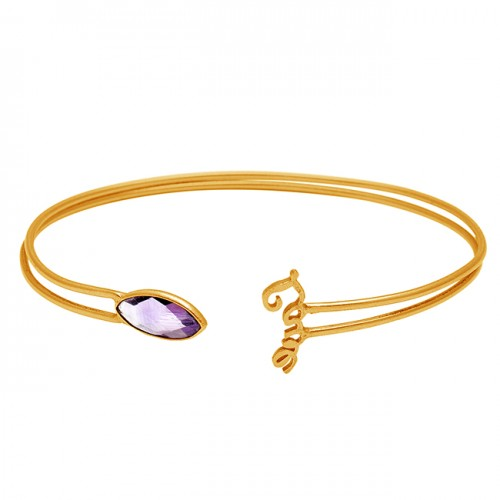 Amethyst marquise sterling silver gold plated bangle jewelry