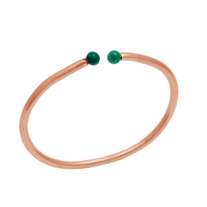 Balls Emerald Gemstone 925 Sterling Silver Jewelry Gold Plated Bangle