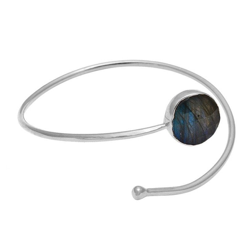 Grey Labradorite round sterling silver gold plated bangle jewelry