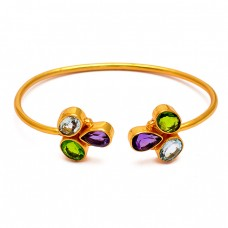 Amethyst Blue Topaz Peridot Gemstone 925 Sterling Silver Gold Plated Bangle Jewelry