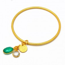 Green Onyx Crystal Quartz Gemstone 925 Sterling Silver Gold Plated Bangle Jewelry