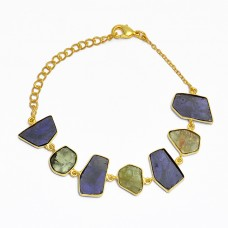 Fancy Shape Peridot Iolite Gemstone 925 Sterling Silver Gold Plated Bracelet Jewelry