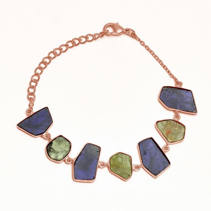 Fancy Shape Peridot Iolite Gemstone 925 Sterling Silver Gold Plated Bracelet Jewelry