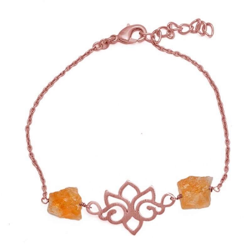 Citrine Rough Gemstone 925 Sterling Silver Gold Plated Designer Bracelet