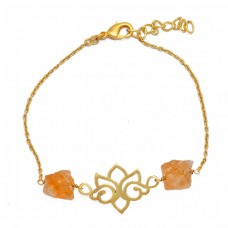 Citrine Rough Gemstone 925 Sterling Silver Gold Plated Designer Bracelet