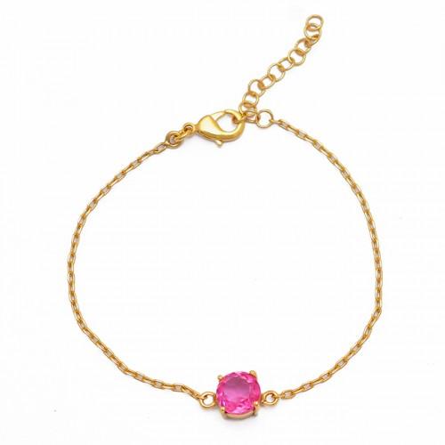 Round Shape Tourmaline Quartz Gemstone 925 Silver Gold Plated Bracelet