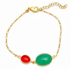 Red Green Color Onyx Gemstone 925 Sterling Silver Gold Plated Bracelet
