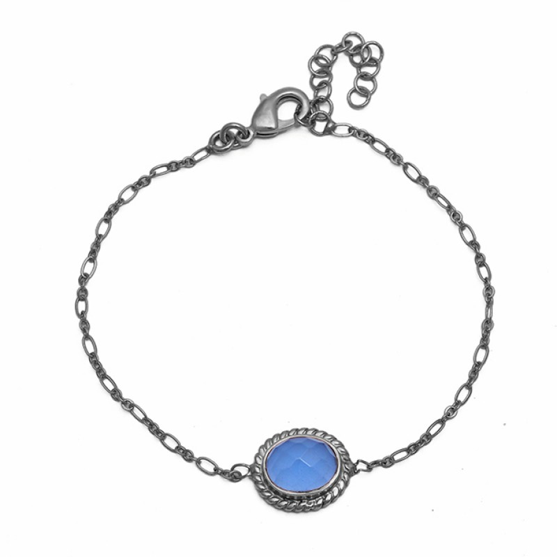 Oval Shape Blue Chalcedony Gemstone 925 Sterling Silver Gold Plated Bracelet