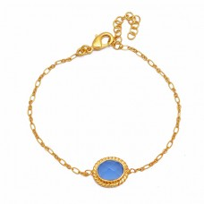 Oval Shape Blue Chalcedony Gemstone 925 Sterling Silver Gold Plated Bracelet