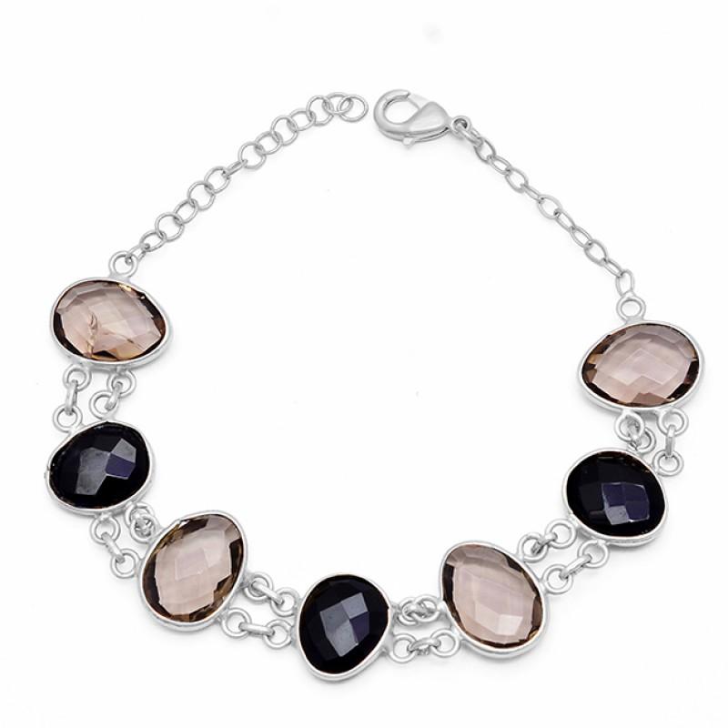 925 Sterling Silver Onyx Quartz Gemstone Gold Plated Designer Bracelet