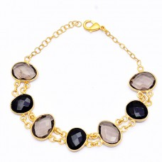 925 Sterling Silver Onyx Quartz Gemstone Gold Plated Designer Bracelet