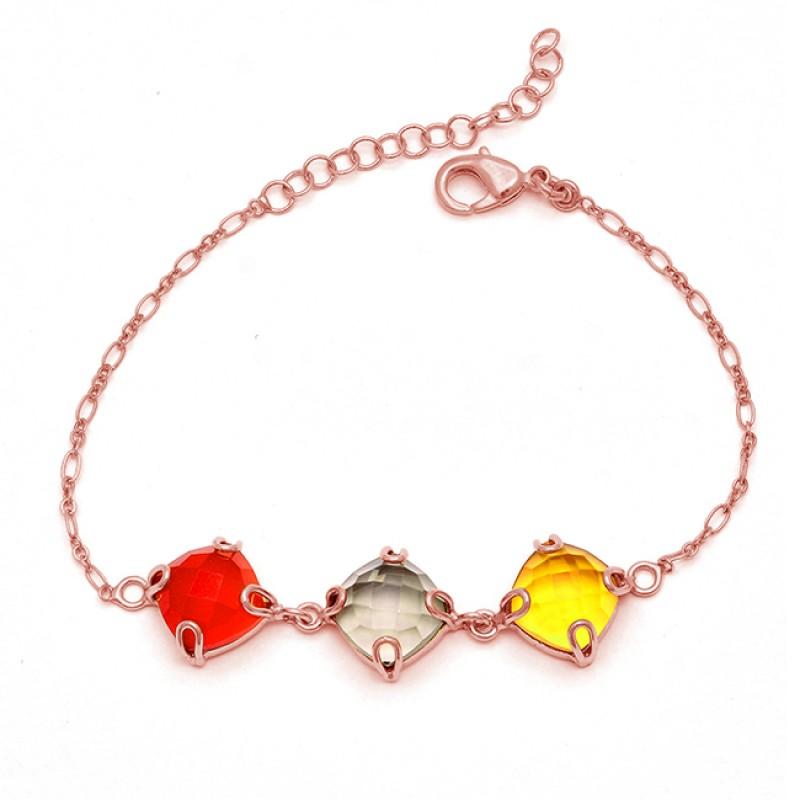 Square Shape Carnelian Smoky Quartz Citrine Gemstone Silver Bracelet