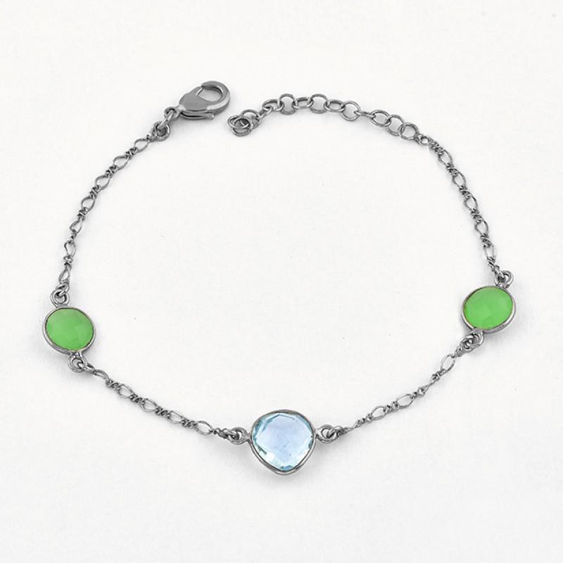 Round Heart Shape Topaz Chalcedony Gemstone 925 Silver Bracelet