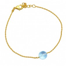 Faceted Round Balls Blue Topaz Gemstone 925 Sterling Silver Gold Plated Bracelet Jewelry