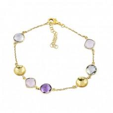 Amethyst Topaz Chalcedony Gemstone 925 Sterling Silver Bracelet