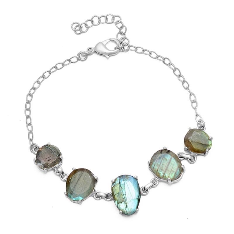 Oval Shape Labradorite Gemstone 925 Sterling Silver Gold Plated Bracelet