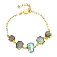 Oval Shape Labradorite Gemstone 925 Sterling Silver Gold Plated Bracelet