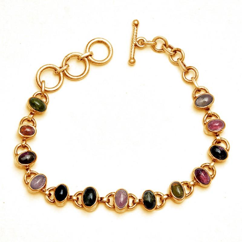 Oval Shape Tourmaline Gemstone 925 Sterling Silver Designer Bracelet