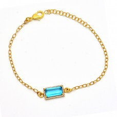 Tanzanite Quartz Cz Gemstone 925 Sterling Silver Gold Plated Bracelet