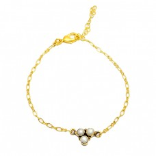 Round Shape Pearl Gemstone 925 Sterling Silver Gold Plated Bracelet