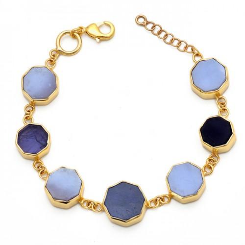 Smoky Quartz Moonstone 925 Sterling Silver Gold Plated Designer Bracelet