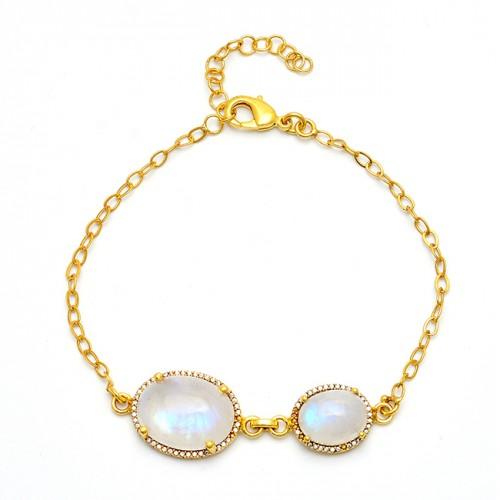 Oval Shape Rainbow Moonstone 925 Sterling Silver Gold Plated Bracelet