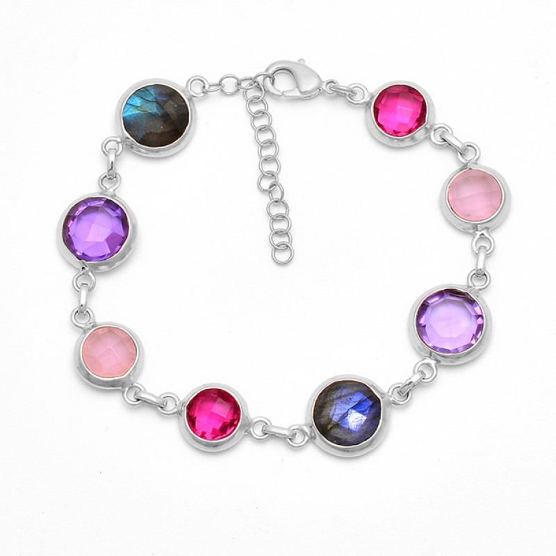 Round Shape Multi Color Gemstone 925 Silver Gold Plated Bracelet