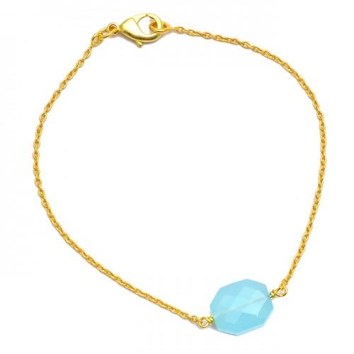 Hexagon Shape Aqua Chalcedony Gemstone Light Weight Gold Plated Bracelet Jewelry