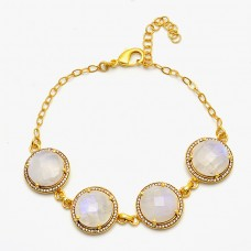 Rainbow Moonstone Round Shape 925 Silver Gold Plated Bracelet