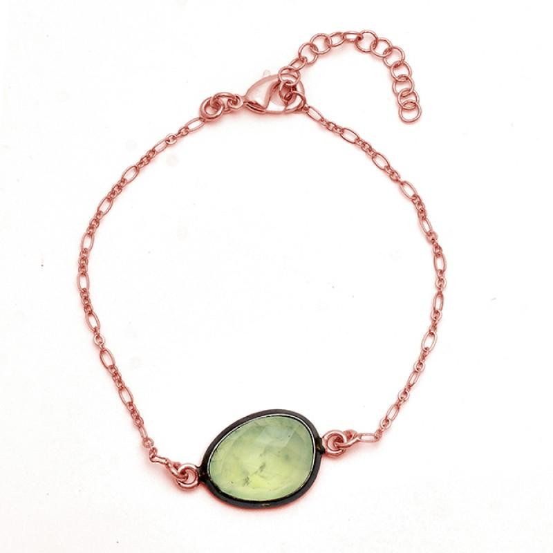 Oval Shape Prehnite Chalcedony Gemstone 925 Silver Gold Plated Bracelet