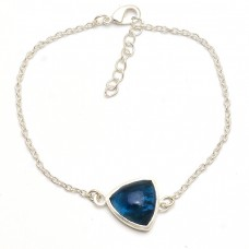 Triangle Shape Blue Quartz Gemstone 925 Sterling Silver Bracelet Jewelry