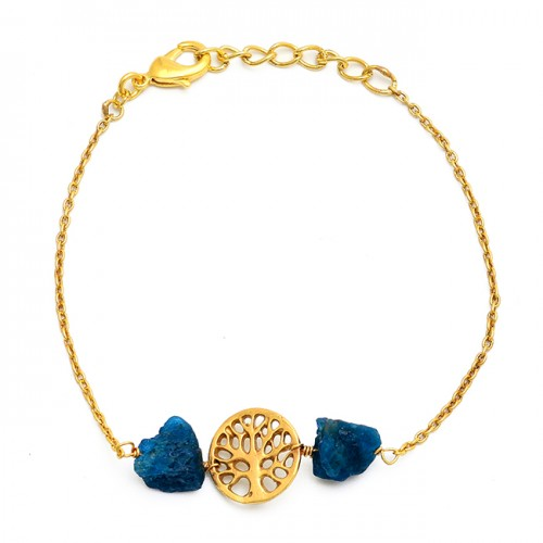 Raw Material Apatite Rough Gemstone 925 Silver Gold Plated Bracelet