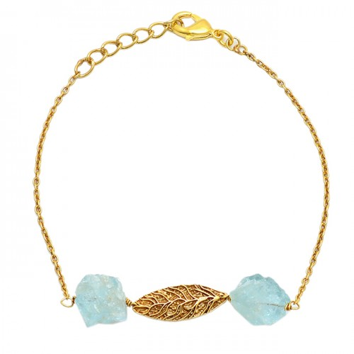 Aqua Chalcedony Rough Gemstone 925 Sterling Silver Gold Plated Bracelet