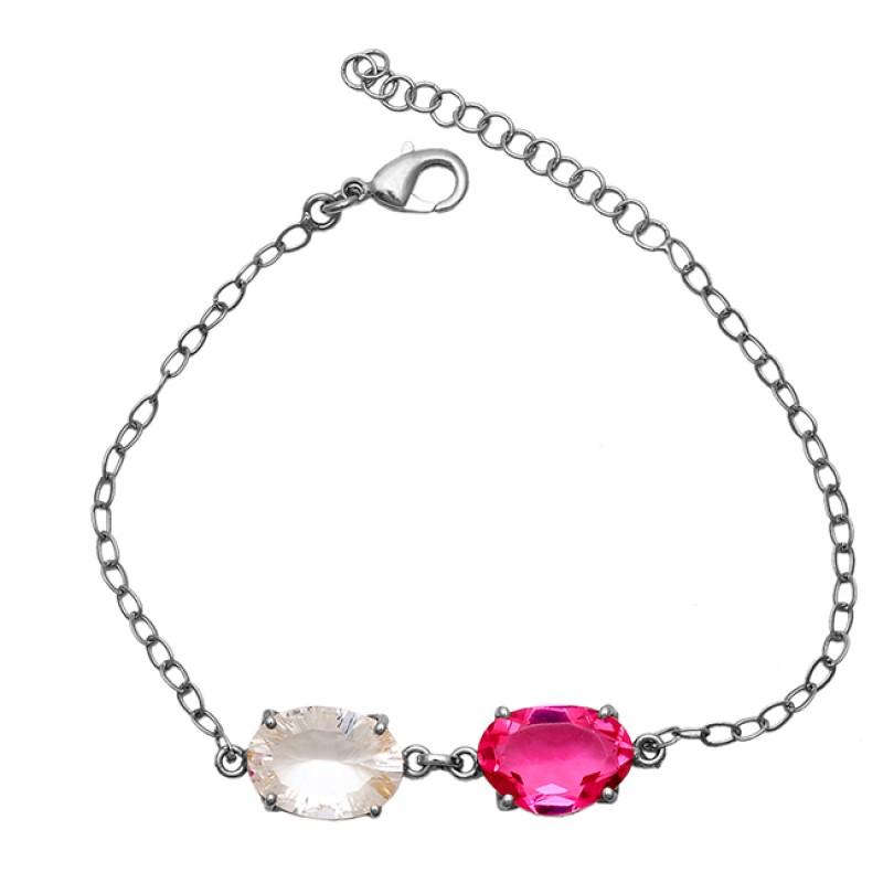 Oval Shape Tourmaline Crystal Quartz Gemstone 925 Silver Bracelet