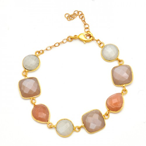 925 Sterling Silver Moonstone Designer Gold Plated Bracelet Jewelry