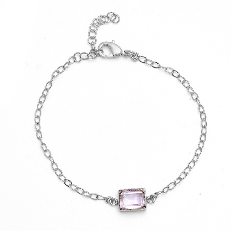 Rectangle Shape Amethyst Gemstone 925 Sterling Silver Gold Plated Bracelet