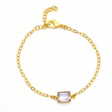 Rectangle Shape Amethyst Gemstone 925 Sterling Silver Gold Plated Bracelet