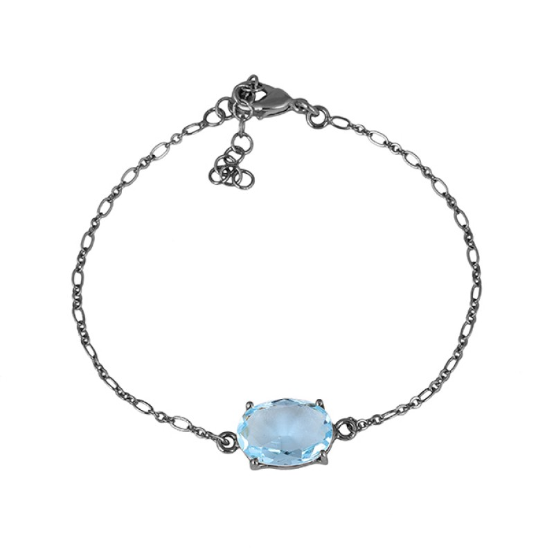 Oval Shape Blue Topaz Gemstone 925 Sterling Silver Gold Plated Bracelet