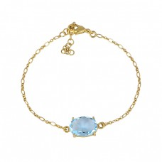 Oval Shape Blue Topaz Gemstone 925 Sterling Silver Gold Plated Bracelet