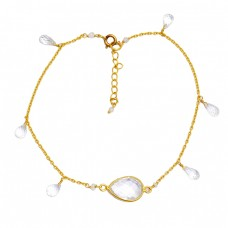 Crystal Pear Drops Shape Gemstone 925 Sterling Silver Gold Plated Bracelet Jewelry
