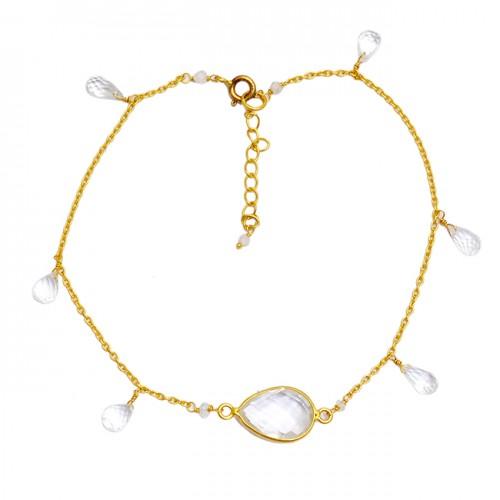 Crystal Pear Drops Shape Gemstone 925 Sterling Silver Gold Plated Bracelet Jewelry