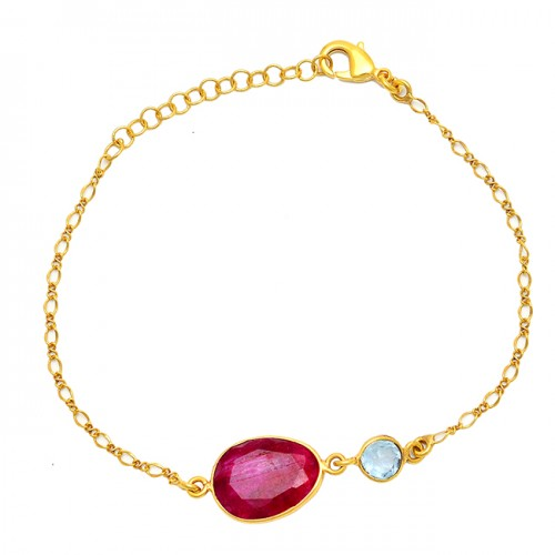 Blue Topaz Ruby Gemstone 925 Sterling Silver Gold Plated Bracelet