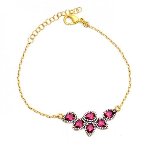 Tourmaline Cz Gemstone 925 Sterling Silver Gold Plated Bracelet Jewelry