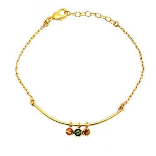 Round Shape Citrine Peridot Gemstone 925 Sterling Silver Gold Plated Bracelet