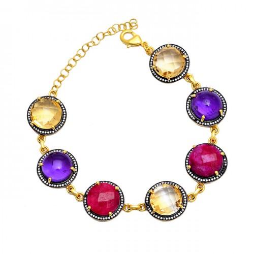 Round Shape Citrine Amethyst Ruby Gemstone 925 Silver Bracelet Jewelry