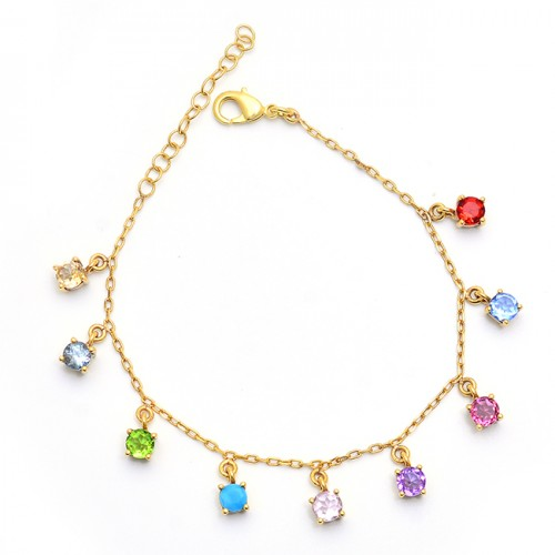 Round Shape Multi Color Gemstone 925 Sterling Silver Gold Plated Bracelet Jewelry
