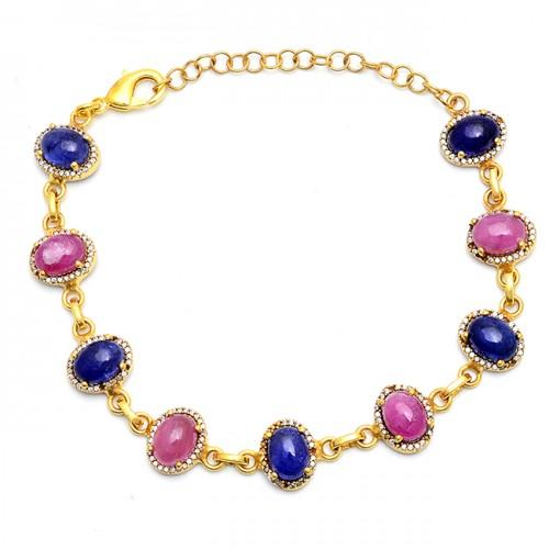 Oval Shape Ruby Lapis Lazuli Gemstone 925 Silver Gold Plated Bracelet