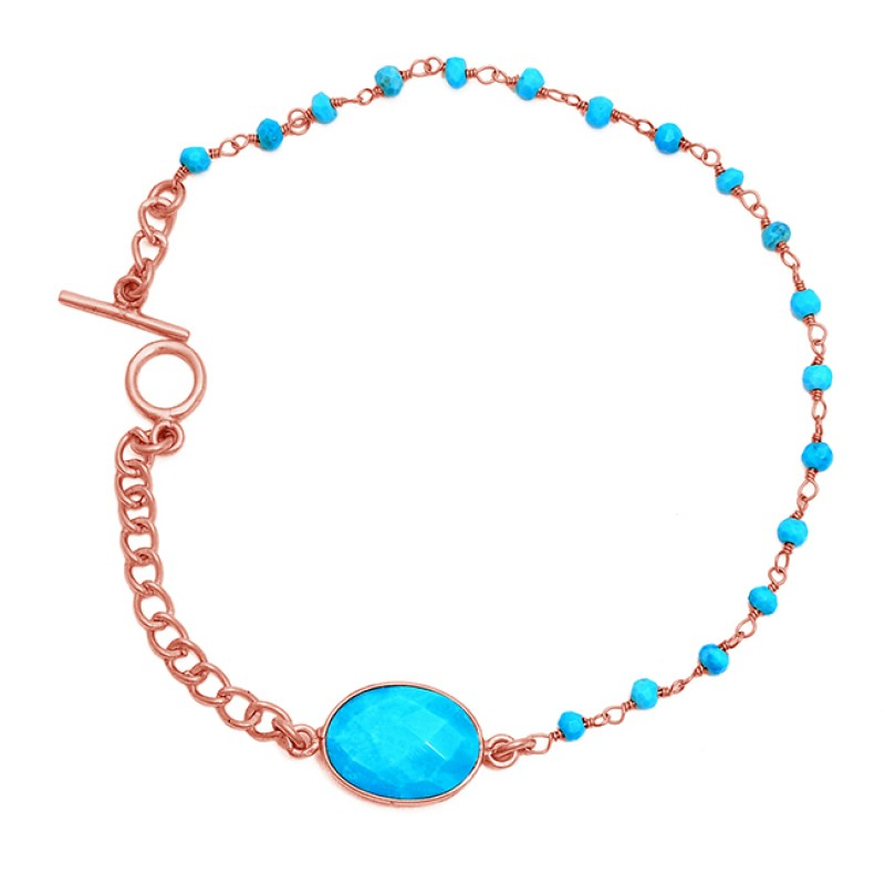 Oval Roundel Beads Turquoise Gemstone 925 Silver Gold Plated Bracelet