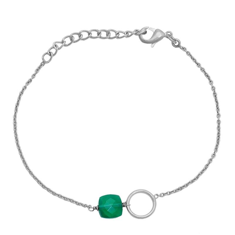 Square Shape Green Onyx Gemstone 925 Sterling Silver Gold Plated Bracelet