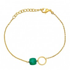 Square Shape Green Onyx Gemstone 925 Sterling Silver Gold Plated Bracelet